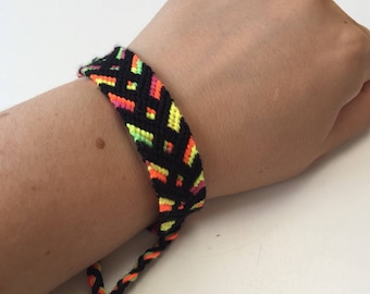 Neon bracelet black wristband Friendship bracelet Handmade Friend Bracelet blacks neon anklet band