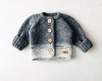 62/68 cm (3-6 mēneši) Mīksta pelēka jaciņa mazulim - Gatava sūtīšanai
