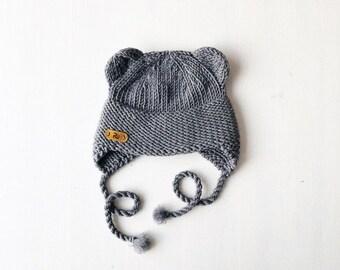 0-6 mēneši (40-44cm) - Pelēka merīnvilnas lāčausu cepurīte - Gatava sūtīšanai