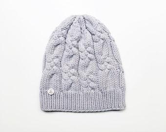 L (58-60cm) - Pelēka merīnvilnas cepure - Gatava sūtīšanai
