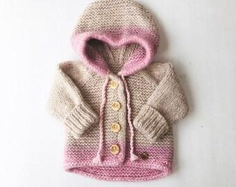 62/68 (3-6 mēneši) - Bēša / rozā jaciņa ar kapuci - gatava sūtīšanai