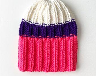 M (56-58cm) - Pusvilnas apjomīga adījuma cepure - Gatava sūtīšanai
