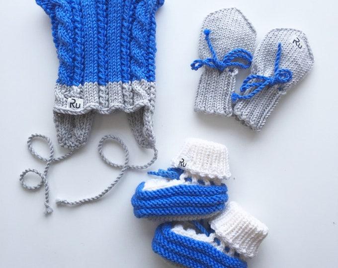 0-6 mēneši - Zils / pelēks merīnvilnas komplekts mazulītim - Gatavs sūtīšanai