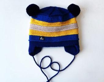 2-5 gadi (50-52cm) - Tumši zila bērnu ziemas cepure ar dubultu malu un sasienamām aukliņām - Gatava sūtīšanai