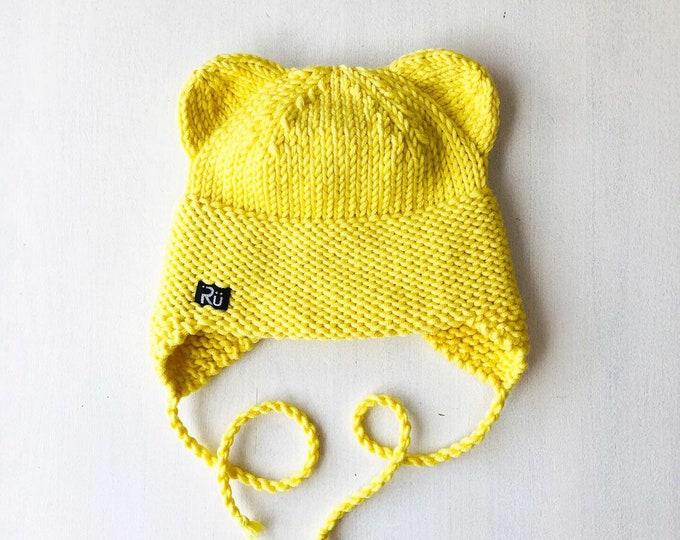 1-2 gadi - Koši dzeltena lāčuka cepure bērnam - gatava sūtīšanai
