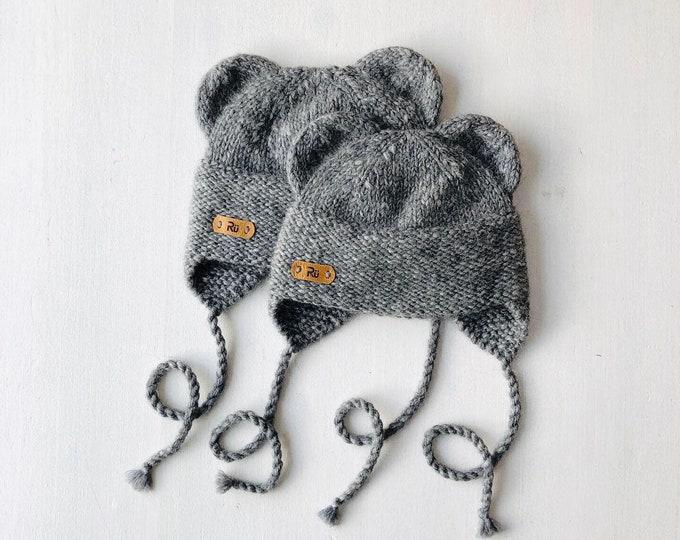 0-6, 6-12 mēneši - Tumši pelēka pūkainā lāčuka cepure - gatava sūtīšanai