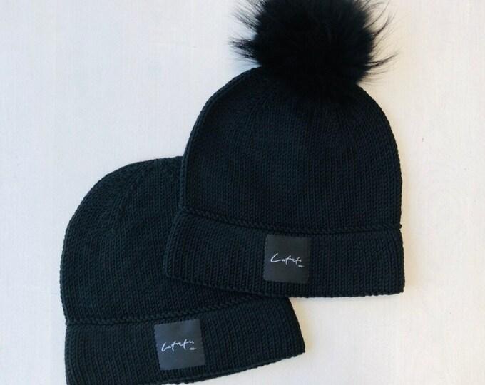 """M (56-58cm) - Melna vilnas """"latvietis & latviete"""" cepure - Gatava sūtīšanai"""