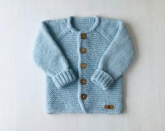 98/104cm (2-4 gadi) - Mīksta gaiši zila/mint jaciņa mazulim - Gatava sūtīšanai
