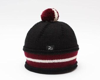 S (54-56cm) - Melna cepure ar dubultu sarkanbaltsarkanu karoga malu - Gatava sūtīšanai