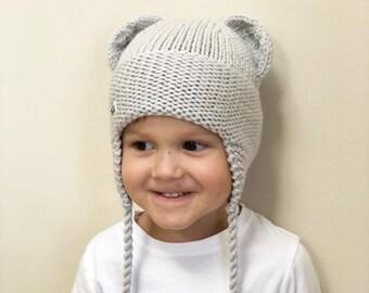 Gaiši pelēka lāčuka ziemas cepure bērnam - dažādi izmēri - gatava sūtīšanai