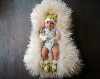 6-12 mēneši - Koši zaļš / balts merīnvilnas komplekts mazulītim - Gatavs sūtīšanai