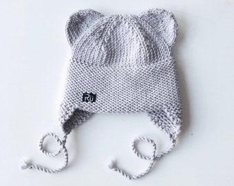 Gaiši lillīgi pelēka lāčuka cepure bērnam - dažādi izmēri - gatava sūtīšanai