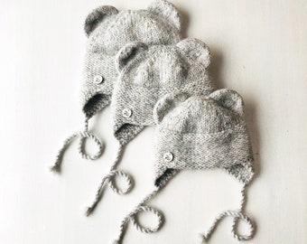 0-6 mēneši (40-44cm) - Gaiši pelēka pūkainā merino / alpakas vilnas gaisīgā Lāča ausu cepurīte - Gatava sūtīšanai