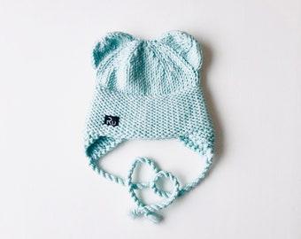 6-12 mēneši - Mint krāsas Lāčuka ziemas cepure bērniem