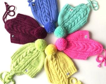 Pīņu raksta ziemas cepure no siltās un mīkstās merino / alpakas superīgās dzijas.