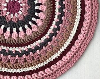 Tamborēts kokvilnas paklājs 60cm diametrs