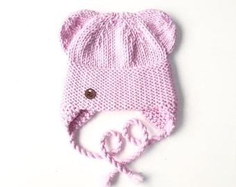 Gaiši rozā Lāčuka ziemas cepure bērniem