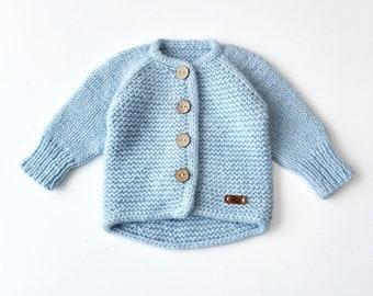 62/68cm (3-6 mēneši) - Mīksta gaiši zila/mint jaciņa mazulim - Gatava sūtīšanai