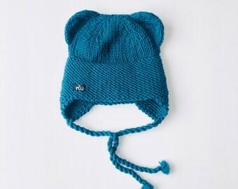 0-6 mēneši - Zilganzaļa Lāčuka ziemas cepure bērniem