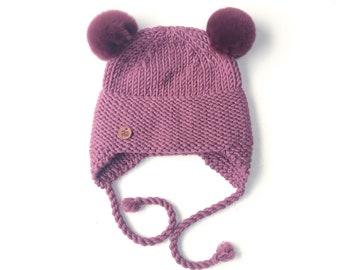 6-12 mēneši - Lillīga Lāčuka ziemas cepure bērniem ar kažokādas bumbuļiem