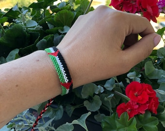 Palestinian flag friendship bracelet Handmade Friendship Bracelet Braided friend band Stackable bracelet Friendship Palestine bracelet