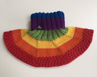 Rainbow neckwarmer for kids all ages Warm winter scarf Merino wool neck warmer Rainbow scarf Tube scarf