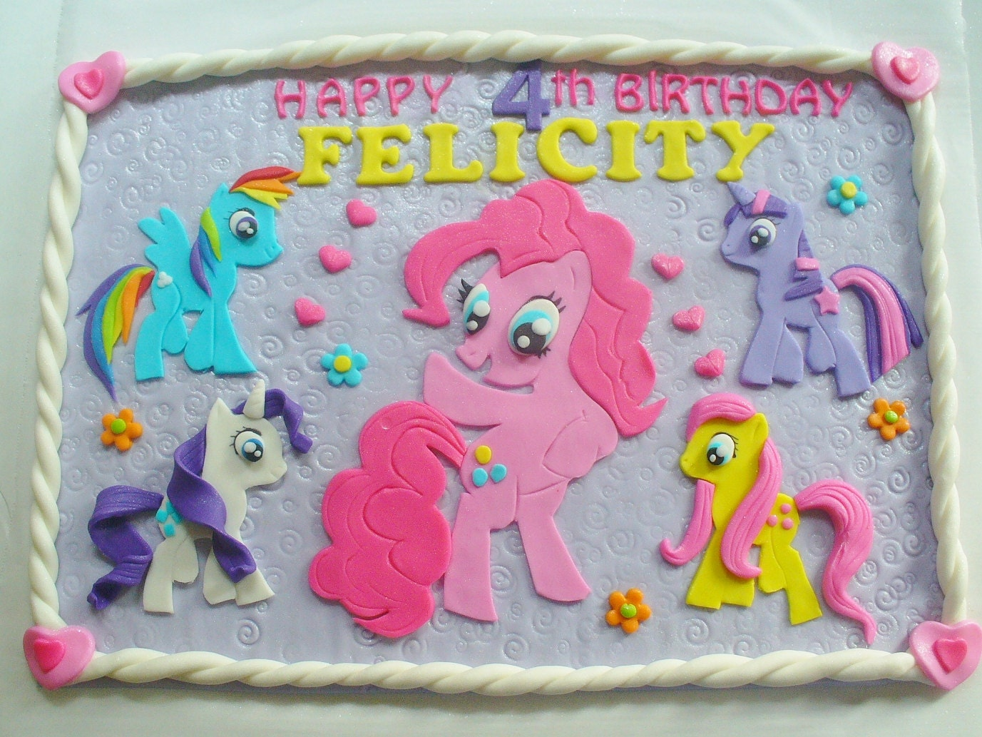 MY LITTLE PONY Edible Fondant Personalized Cake Topper Plaque