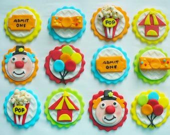 12 CIRCUS CARNIVAL Theme Edible Fondant Cupcake Toppers