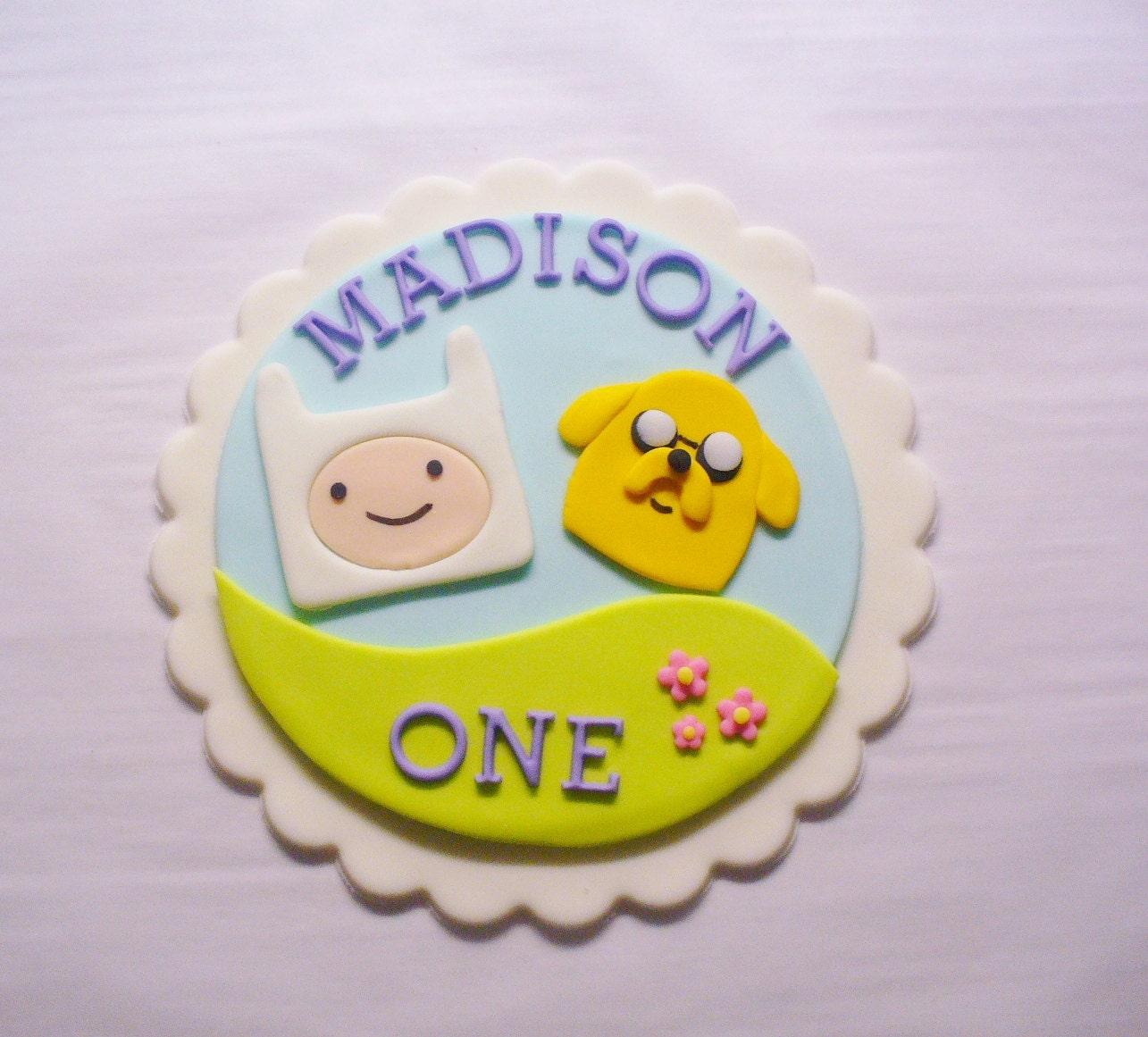 ADVENTURE TIME Fondant Cake Topper Plaque Baby Girl | Etsy