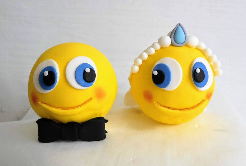 Bride Groom Emoji Wedding Cake Toppers 3d Fondant Etsy