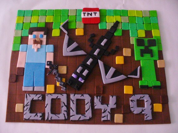 Minecraft Edible Fondant Personalized Cake Topper Plaque For Etsy