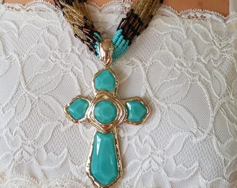 Massive Teal Cross With Beaded Bib Necklace, Multi-Strand Beaded Necklace & Teal With Gold Tone Trim Cross, Removable Cross, Colorful Bib