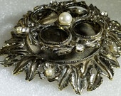 Art Nouveau Bronze Gold LipStick Holder, Pasted Clear Rhinestones 1 Faux Pearl, 4-Slot Lipstick Caddie, Vanity Decor, Boudoir Decor, Glam