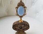 1910 39 s Apollo Gilded Brass Filigree Perfume Bottle, Ormolu Filigree Perfume Bottle W Dauber, Art Noveau, Hollywood Regency, Victorian