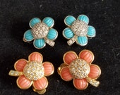 Vintage Blue or Peach Flower Clip On Earrings, Signed 925 Z, Clear Rhinestone Center, Wedding, Each Sold Separately, Dainty Gorgeous, Mod