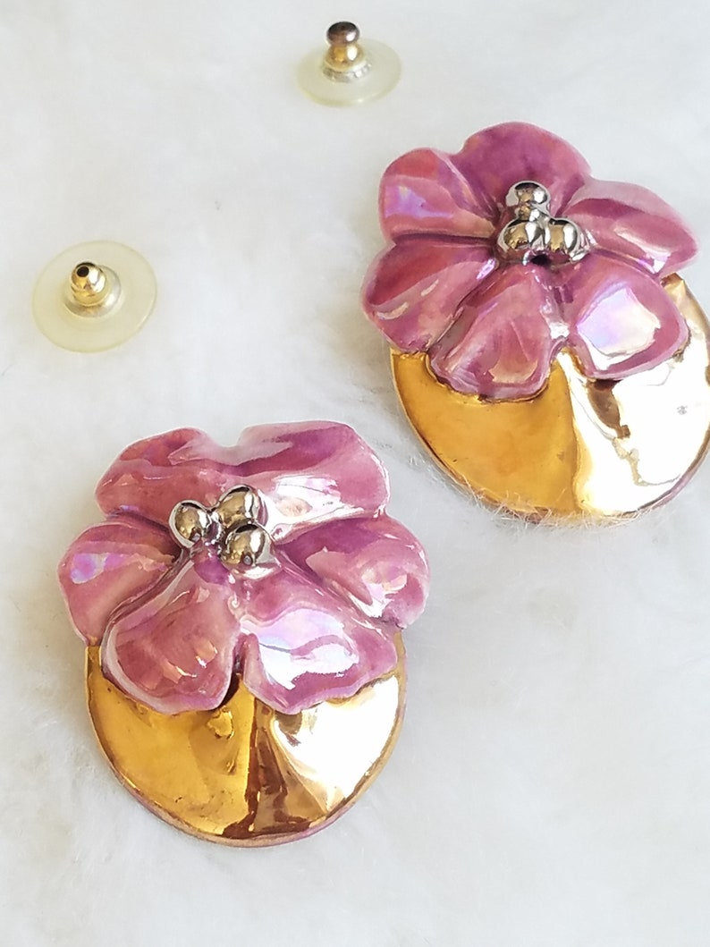 Chunky Ceramic Pink Flower Earrings Gift For Her Easter Mother/'s Day Earrings Gold /& Pink Oversize Earrings Repurposed Into Posts