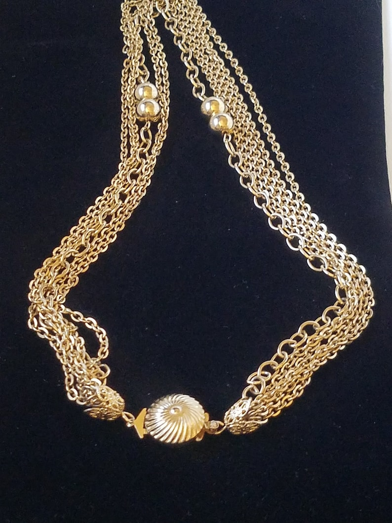 Classic Necklace Bib Statement Necklace Vintage Mult-Strand Chain Necklace 6 Layered Gold Tone Chain Necklace Gold Tone Unsigned