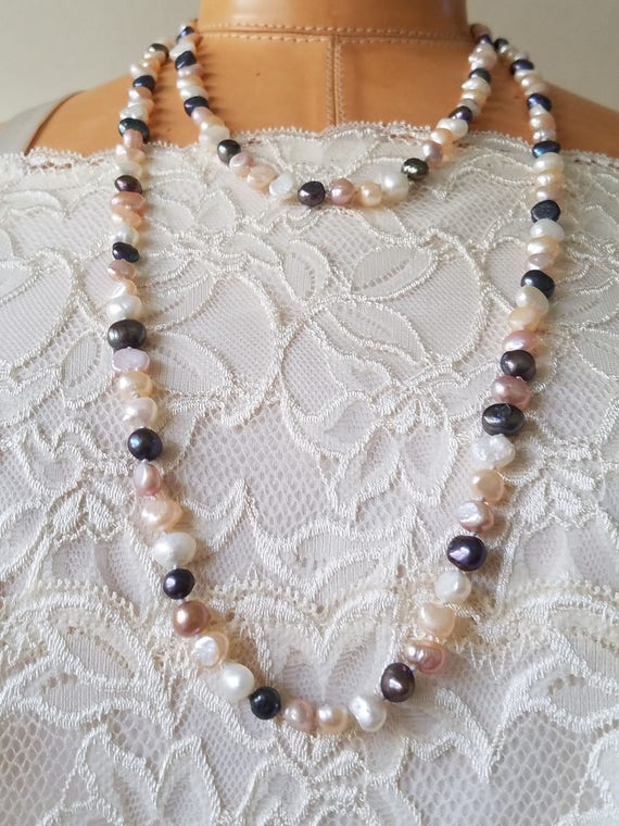 34 Long. Hand Knotted Beaded Cultured Freshwater Pearls and Black Crystals Tassel Necklace