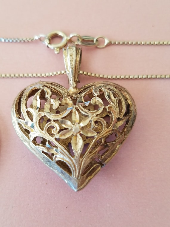Vintage Sterling Silver Cut-Out Heart Pendant, 194