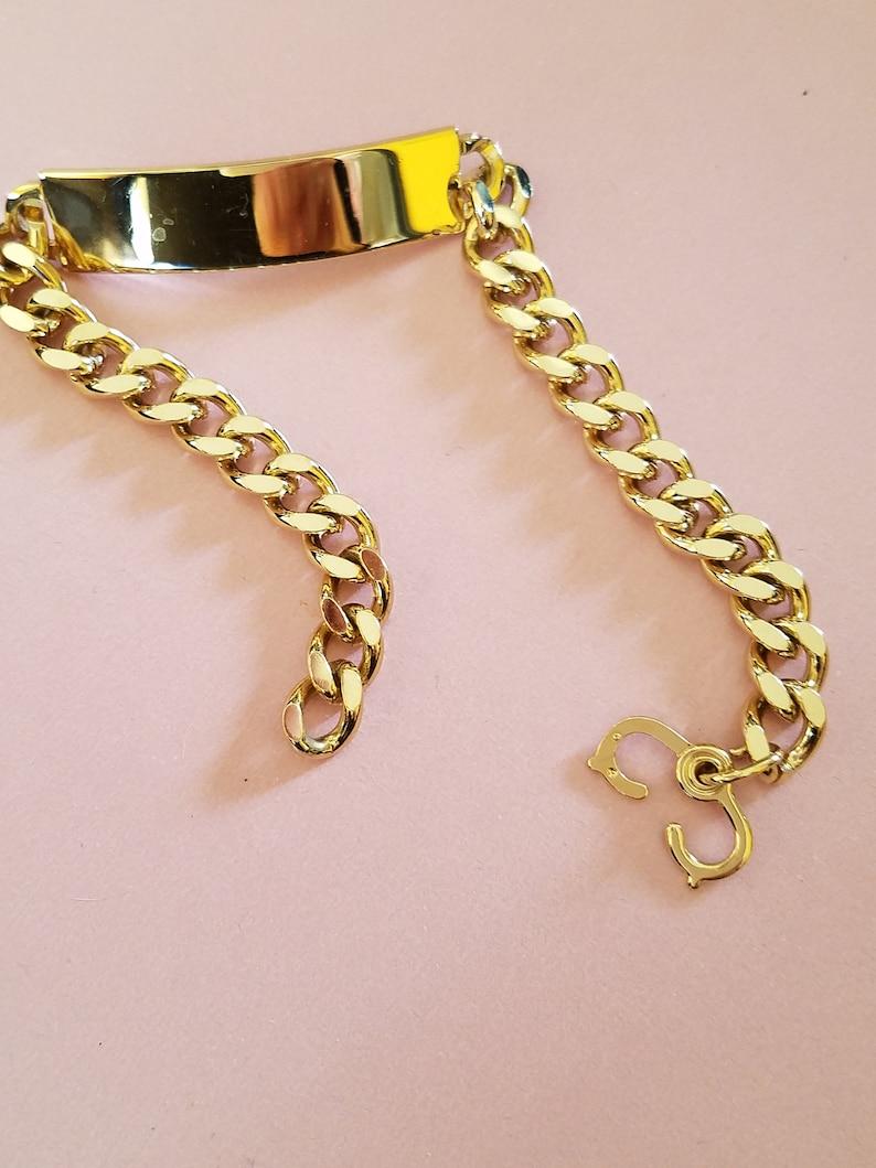 Medical ID Bracelet Miami Curb Link Unisex Speidel Curb Chain Bracelet Shiny Gold Tone Color Designer Signed Speidel Engravable
