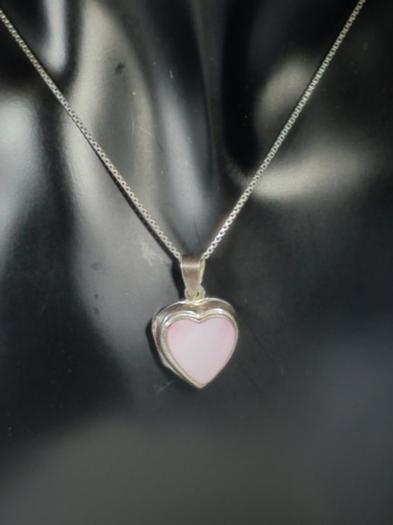 Mother of Pearl and Pink Rhinestones Flower Pendant Vintage Sterling Silver Marked 925.