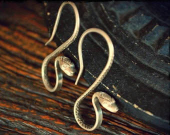 Snake Earrings - Silver Snake Earrings - Snake Jewelry - Boho Snake Earrings - Snake Silver Earrings