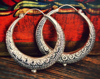 Reserved for M. - Ethnic Hoop Earrings - XL - Nepalese Hoop Earrings - Tibetan Hoop Earrings - Gypsy Hoop Earrings