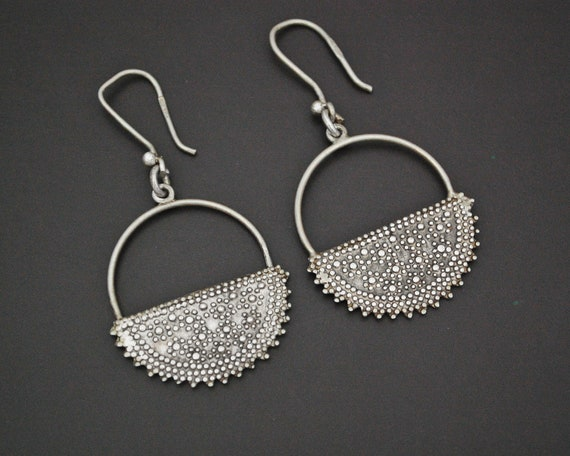 Ethnic Silver Dangle Earrings from Egypt