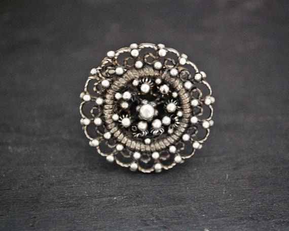 Bold Ethnic Silver Ring - Size 9.25 - Ethnic Ring