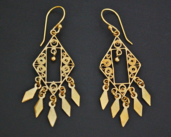 Gilded Earrings from India  - Ethnic Indian Dangle