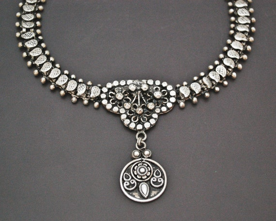 Rajasthani Silver Choker Necklace - Indian Ethnic