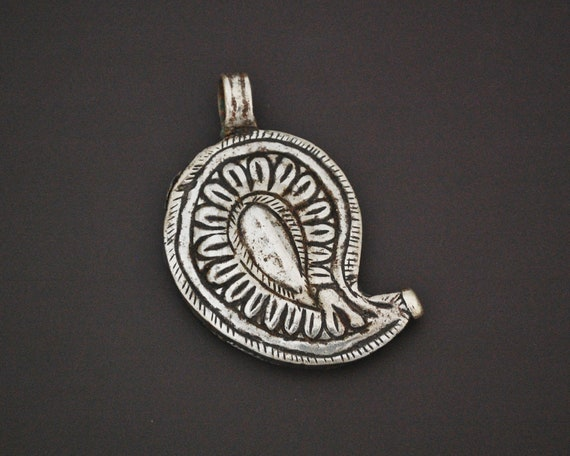 Indian Tribal Paisley Silver Pendant - Rajasthani