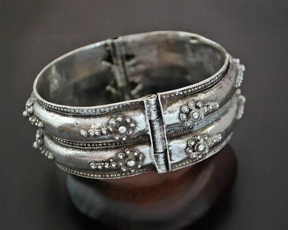 Ethnic Wide Hinged Bracelet - Ethnic Silver Bracel