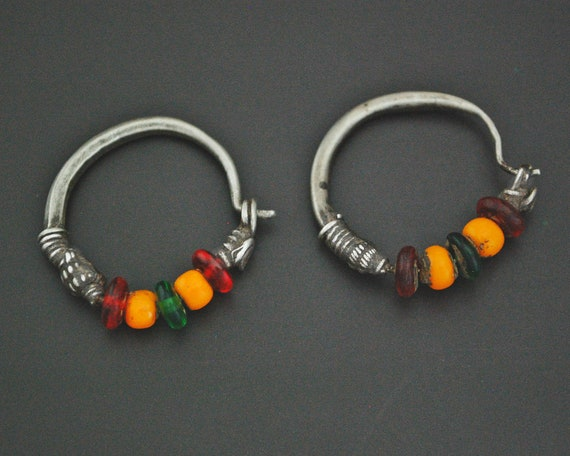 Tribal Indian Hoop Earrings with Colorful Beads -